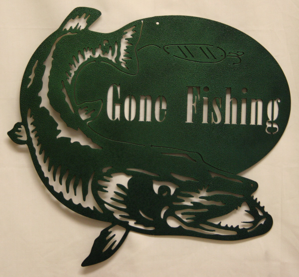 CS Metal Art gone fishing sign