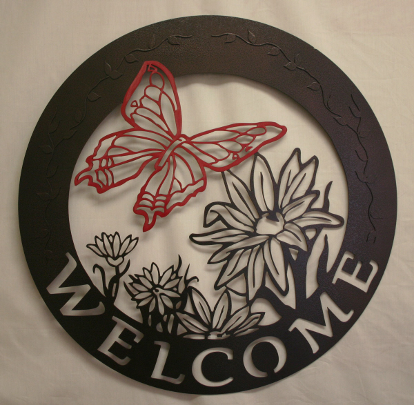 CS Metal Art welcome sign