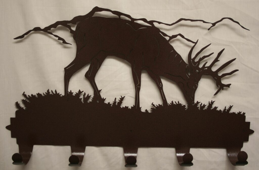 Metal Art, Coat, Hat, Hooks, Whitetail Buck, Deer, Antlers, Mountains, Grass