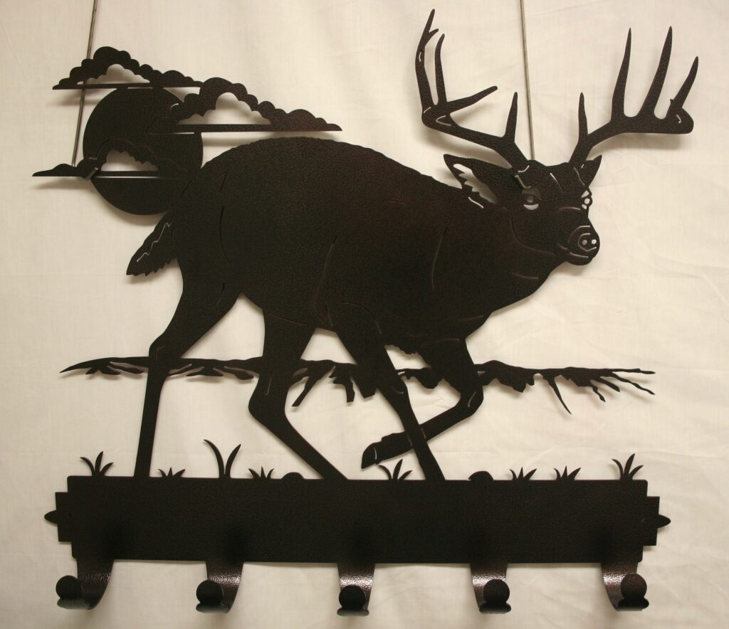 Metal Art, Coat, Hat, Hooks, Sun, Moon, Grass, Whitetail Buck, Deer, Antlers, Clouds