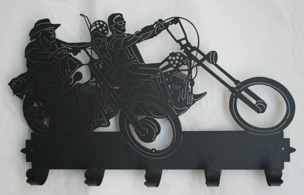 Metal Art, Coat, Hat, Hooks, Motorcycles, Helmets, Two Riders, Stars and Stripes, Sunglasses