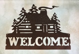 Wall metal art, sign, cabin, chimney, smoke, wind, trees, forest, windows, log cabin, door