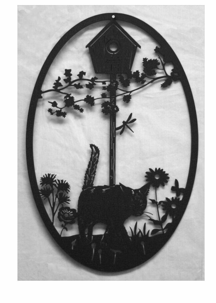 Wall Metal Art Oval Black Cat Garden Birdhouse
