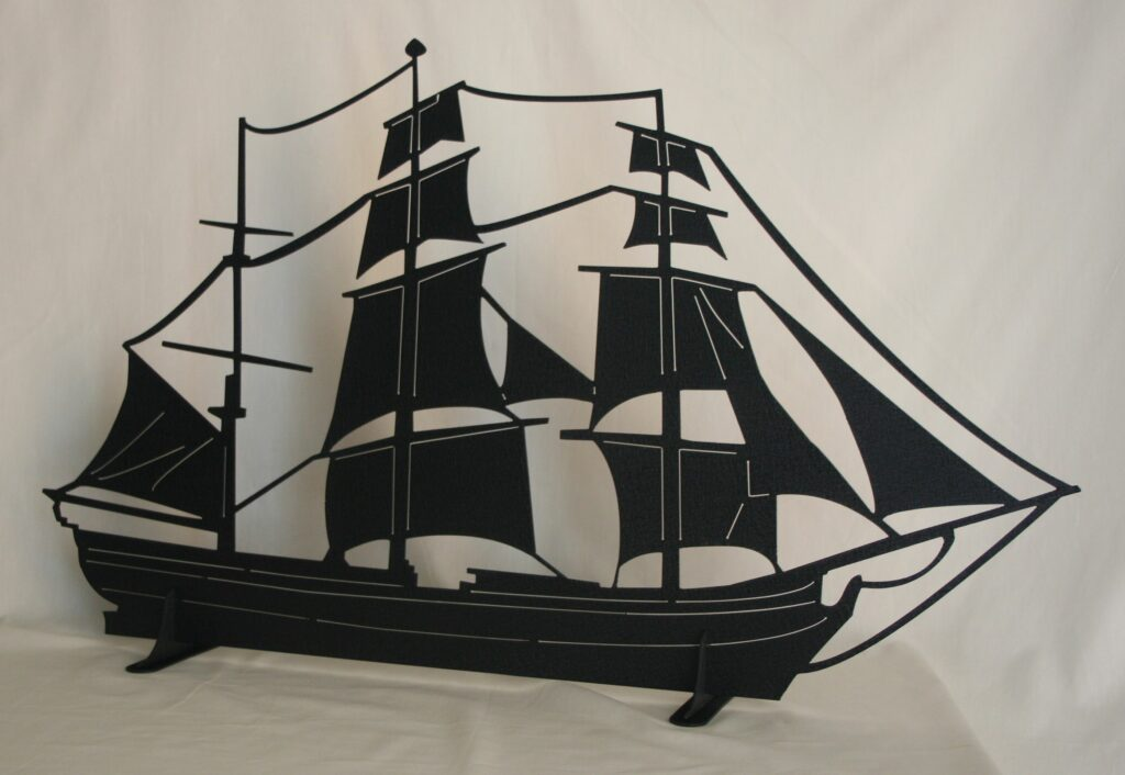 Freestanding Metal Art, 3-masted Schooner, Sails, Stand