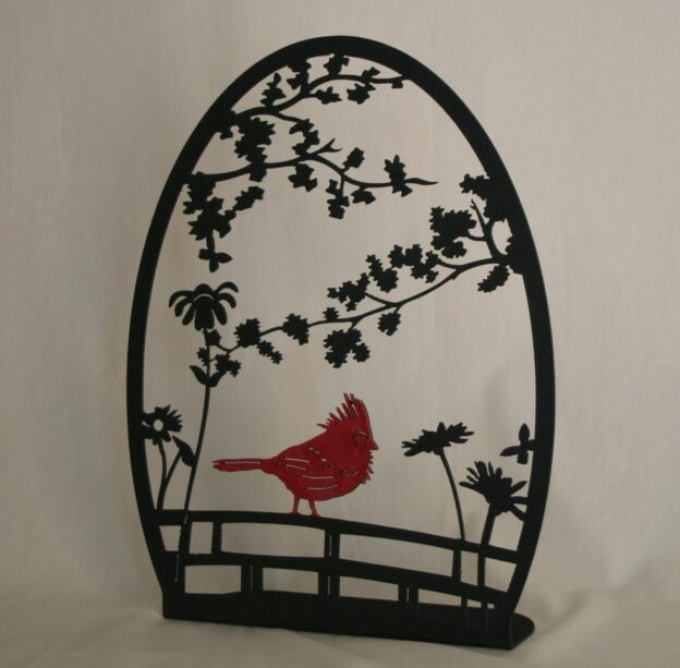 Freestanding Metal Art, Red Cardinal, Fence, Flowers, Branches