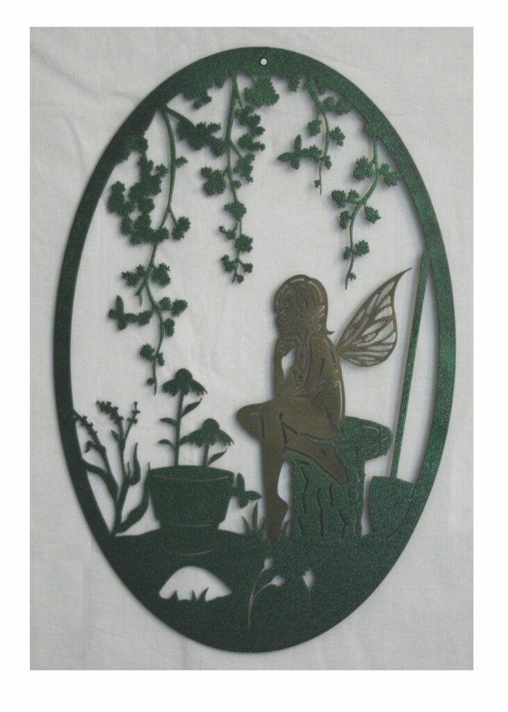 Wall Metal Art Oval Fairy Garden