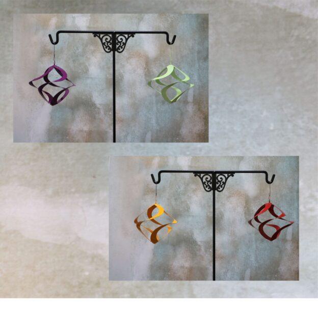 metal art, flower, colors, stem, leaves, kinetic, wind, spinner