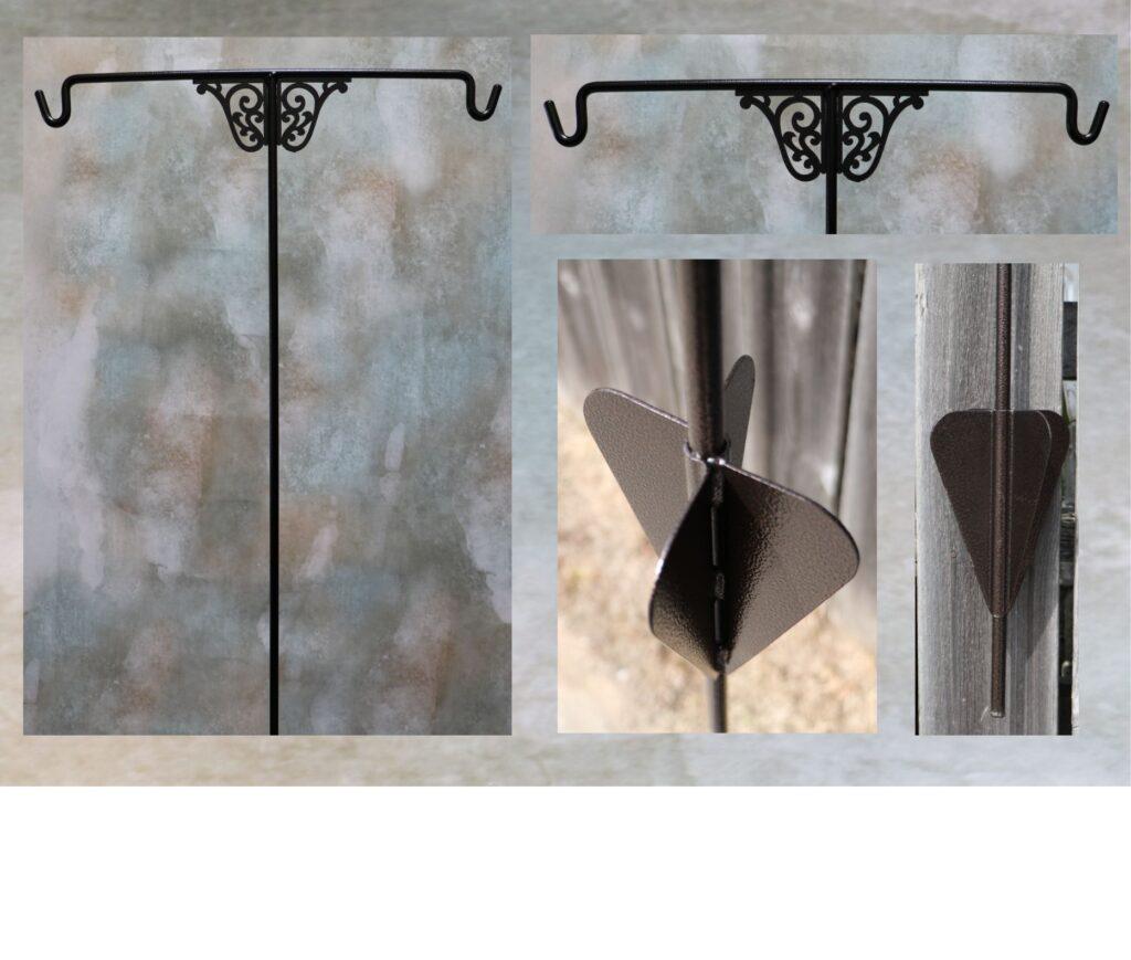 metal art, garden, yard, stake, hanger, scrolls, hooks