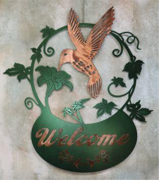 Metal Art, Humming Bird Flying, Nectar, Leaves, Copper, Sign Welcome, Basket, Vines, Flowers