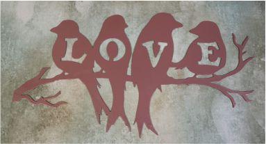 metal wall art, love, Birds, branch, feathers, beaks