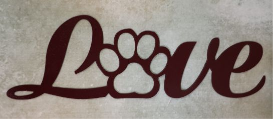 Wall metal art, sign, love, letters, paw print