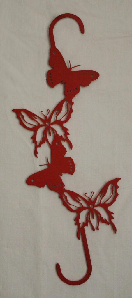 Metal Art, Butterflies, Plant Hanger, Hooks