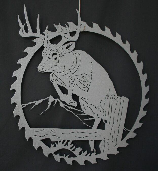 Metal Art, Round, Saw, Blade, White Tail Deer, Mule Deer, Buck Jumping, Log, Tree Stump, Mountains, Hills, Grass