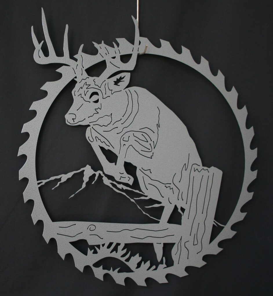 Metal Art, Round, Saw, Blade, White Tail Deer, Mule Deer, Buck Jumping, Log, Tree Stump, Mountains, Hills, Grass