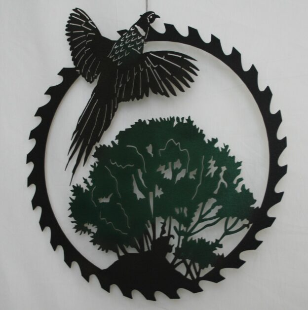 Metal Art, Round, Saw, Blade, Flying Ring Neck Pheasant, Tree, Woods, Grass, Hill, Bushes