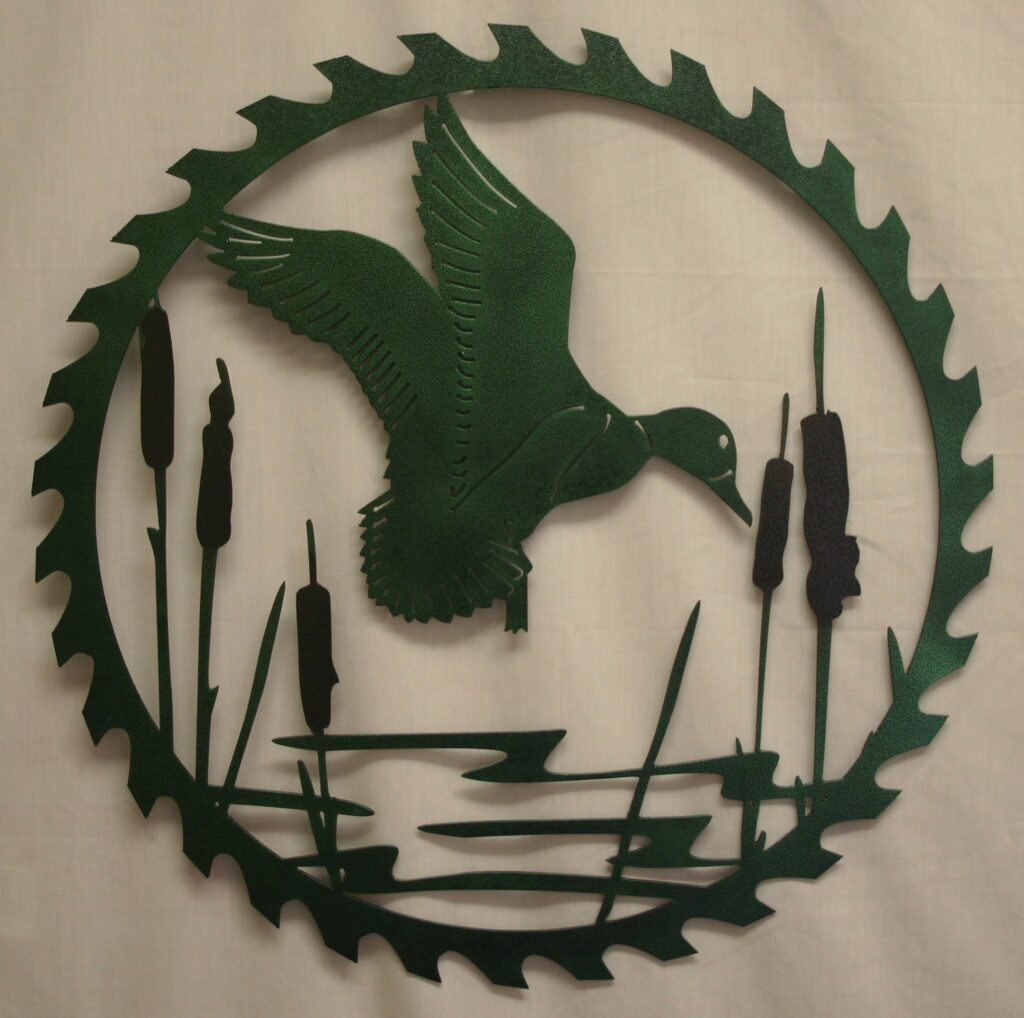 Metal Art, Round, Saw, Blade, Flying Duck, Mallard, Cattails, Swamp
