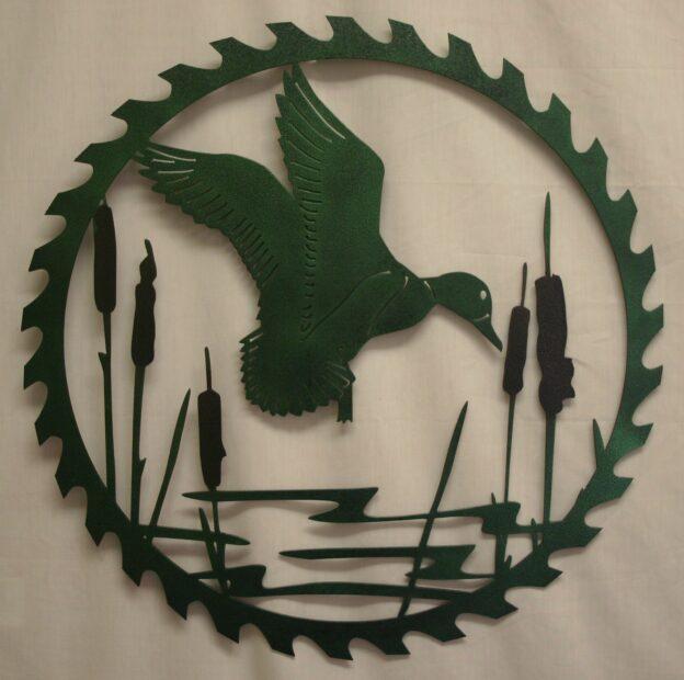 Metal Art, Round, Saw, Blade, Flying Duck, Mallard, Cattails, Swamp