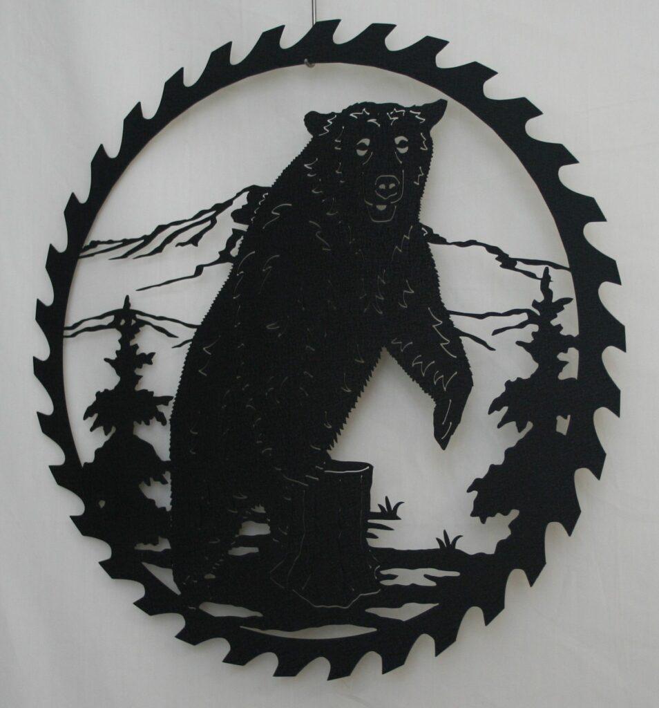 Metal Art, Round, Saw, Blade, Bear, Trees, Woods, Mountains, Hills, Tree Stump, Grass