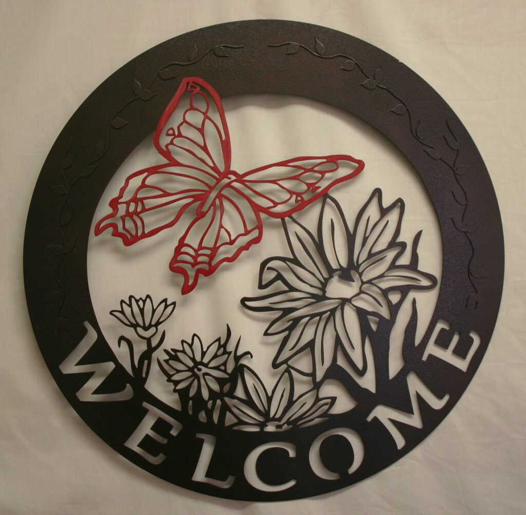 Metal Art, Round Sign, Welcome Sign, Butterfly, Flowers, Vines