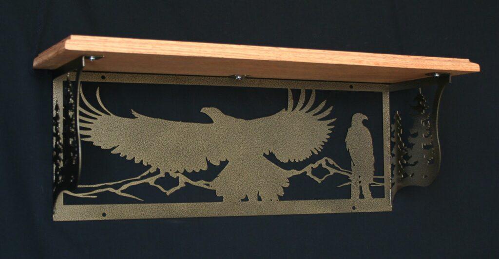 Metal Art, Oak Wood Shelf, Metal Shelf, Hills, Flying Eagle, Perched Eagle, Trees