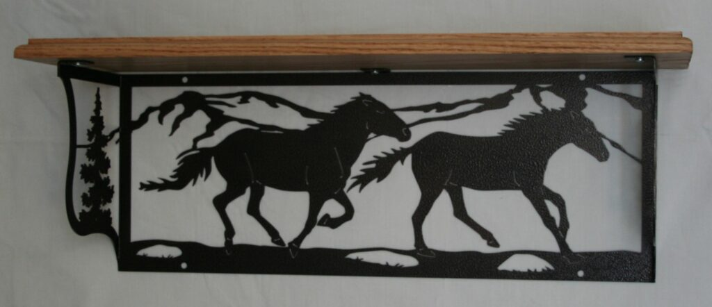Metal Art, Oak Wood Shelf, Metal Shelf, Running Horses, Trees, Mountains