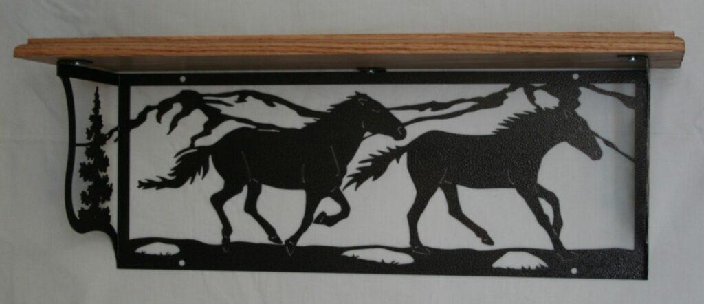 Metal Art, Oak Wood Shelf, Metal Shelf, Running Horses, Trees, Mountains