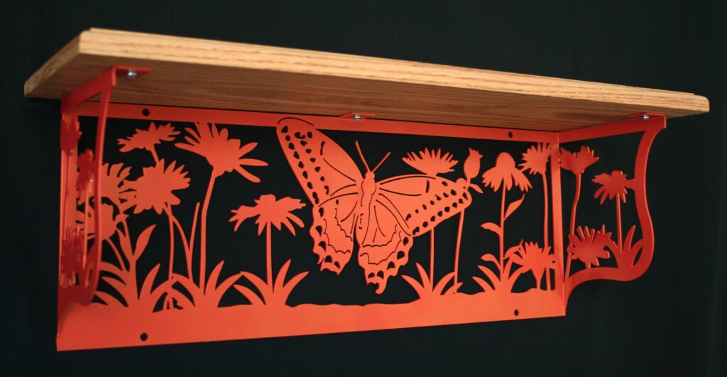 Metal Art, Oak Wood Shelf, Metal Shelf, Flower Garden, Orange Butterfly, Flowers, Stems, Leaves