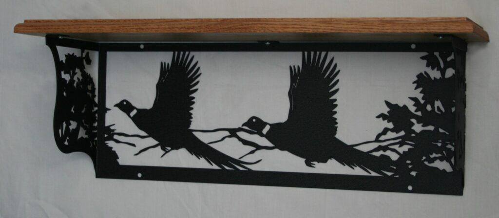 Metal Art, Oak Wood Shelf, Metal Shelf, Woods, Hills, Two Flying Ring Neck Pheasants, Trees