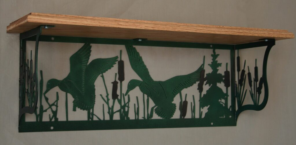 Metal Art, Oak Wood Shelf, Metal Shelf, Trees, Mallard Ducks, Ducks Flying, Cattails, Swamp