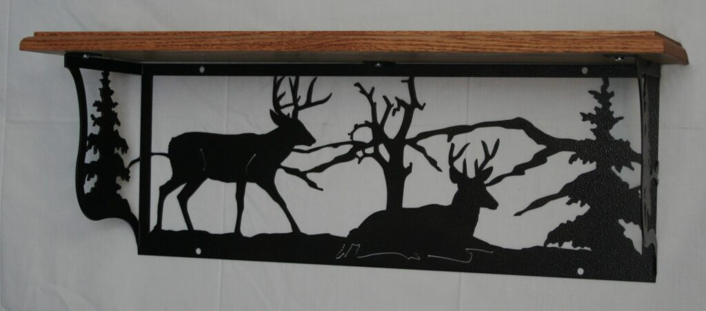 Metal Art, Oak Wood Shelf, Metal Shelf, Bucks, Deer, Trees, Mountains