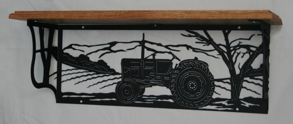 Metal Art, Oak Wood Shelf, Metal Shelf, Tractor, Fields, Crops, Trees