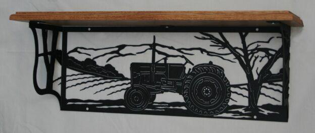 Metal Art, Oak Wood Shelf, Metal Shelf, Tractor, Fields, Crops, Trees