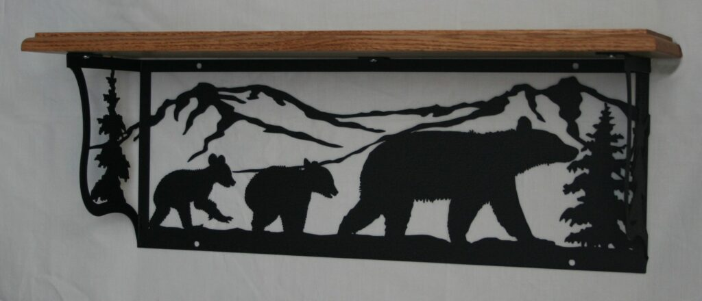 Metal Art, Oak Wood Shelf, Metal Shelf, Mom Bear, Cubs, Mountains, Trees