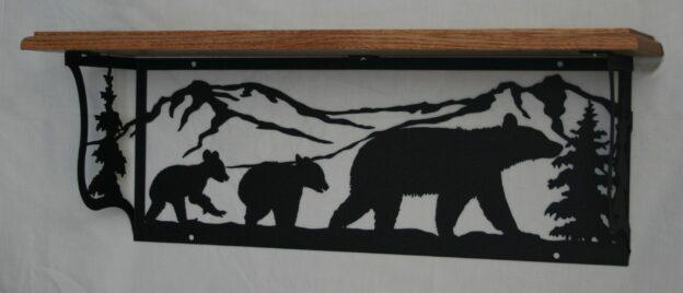 Metal Art, Oak Wood Shelf, Metal Shelf, Mom Bear, Cubs, Mountains, Trees