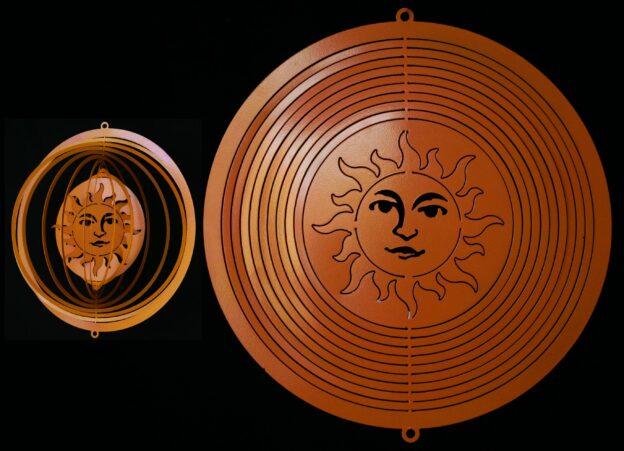 Metal Art, Wind Spinner, Swivel, Orange Aztec Sun, Hanging