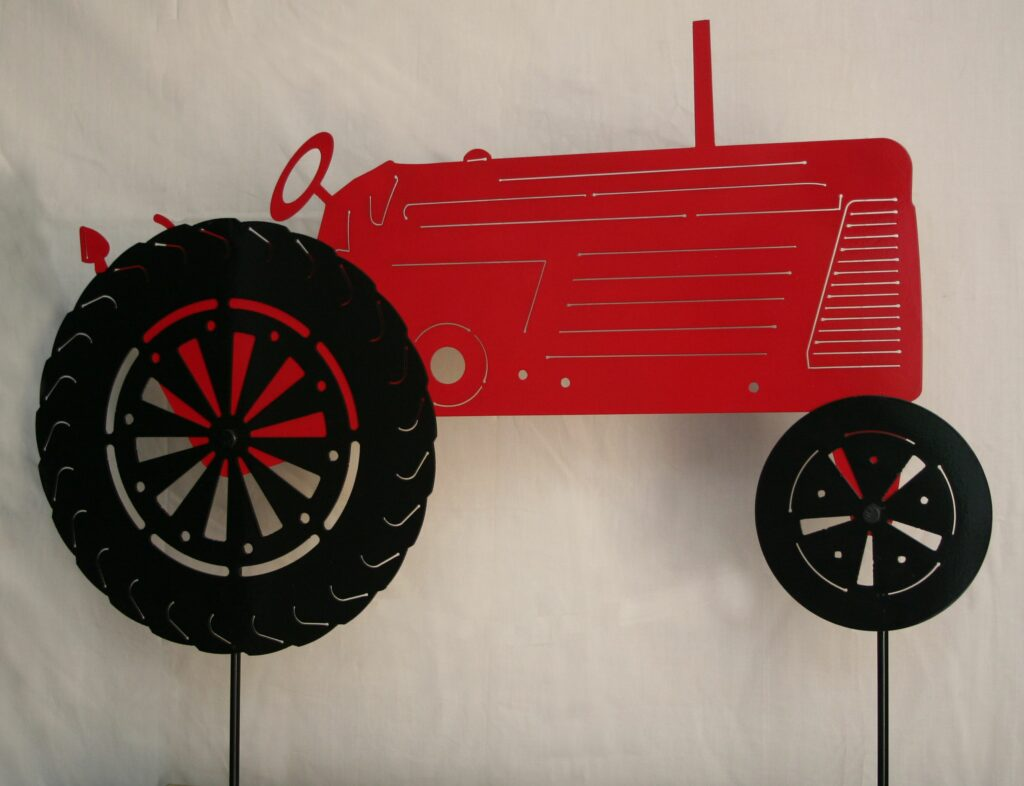 Garden Yard Red Tractor Stake