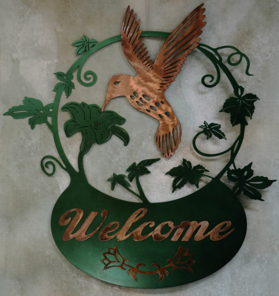 Metal Art, Humming Bird Flying, Nectar, Leaves, Copper, Sign Welcome, Basket, Vines, Flowers