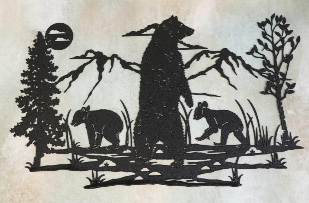 Wall Metal Art, Mama Bear, Baby Bears, Sow, Cubs, Trees, Mountains, Marsh, Water