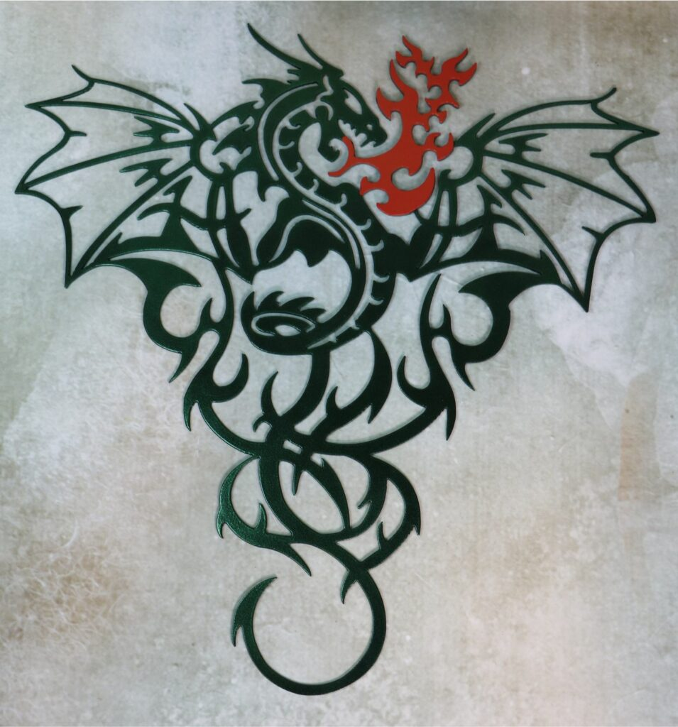 Wall Metal Art, Dragon, Breathing Fire, Flying, Wings