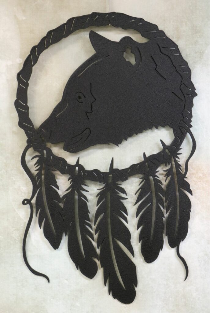 Wall Metal Art, Dream Catcher, Black Bear, Feathers