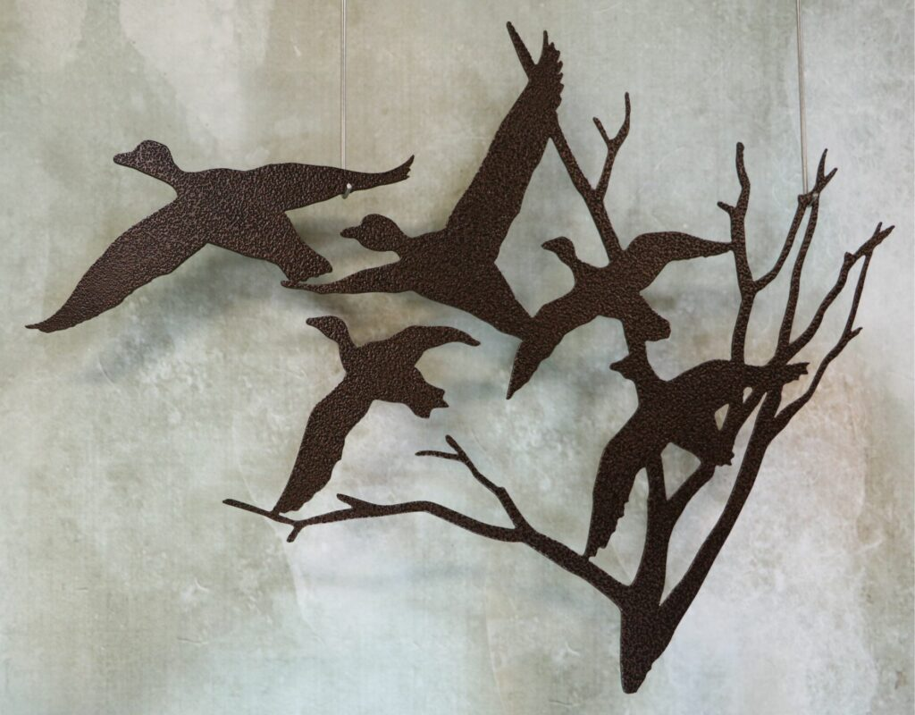 Wall Metal Art, Ducks, Wings, Tree, Flying