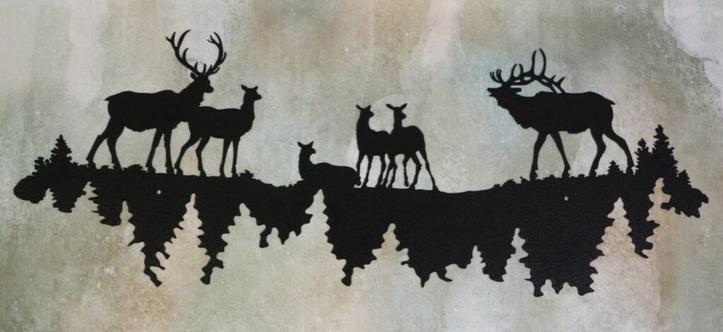 Wall Metal Art, Elk, Buck, Doe, Trees, Reflection, Water, Lake, Pond, Antlers