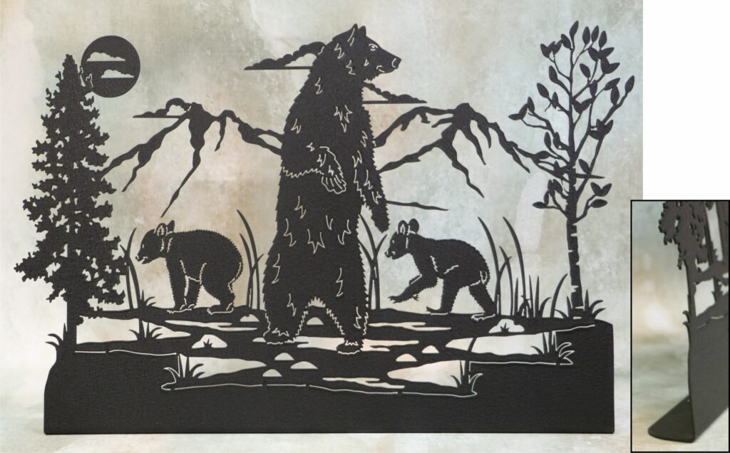 Freestanding Metal Art, Mama Bear, Baby Bears, Sow, Cubs, Trees, Mountains, Marsh, Water