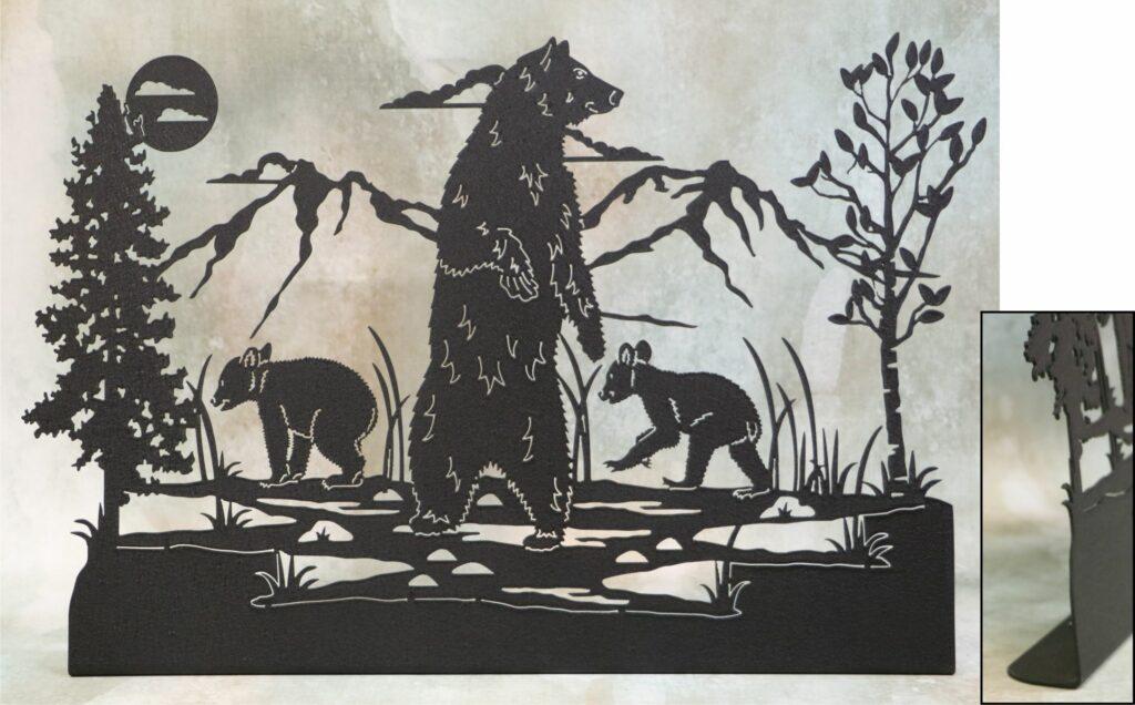 Freestanding Metal Art, Mama Bear, Baby Bears, Sow, Cubs, Trees, Mountains, Marsh, Water
