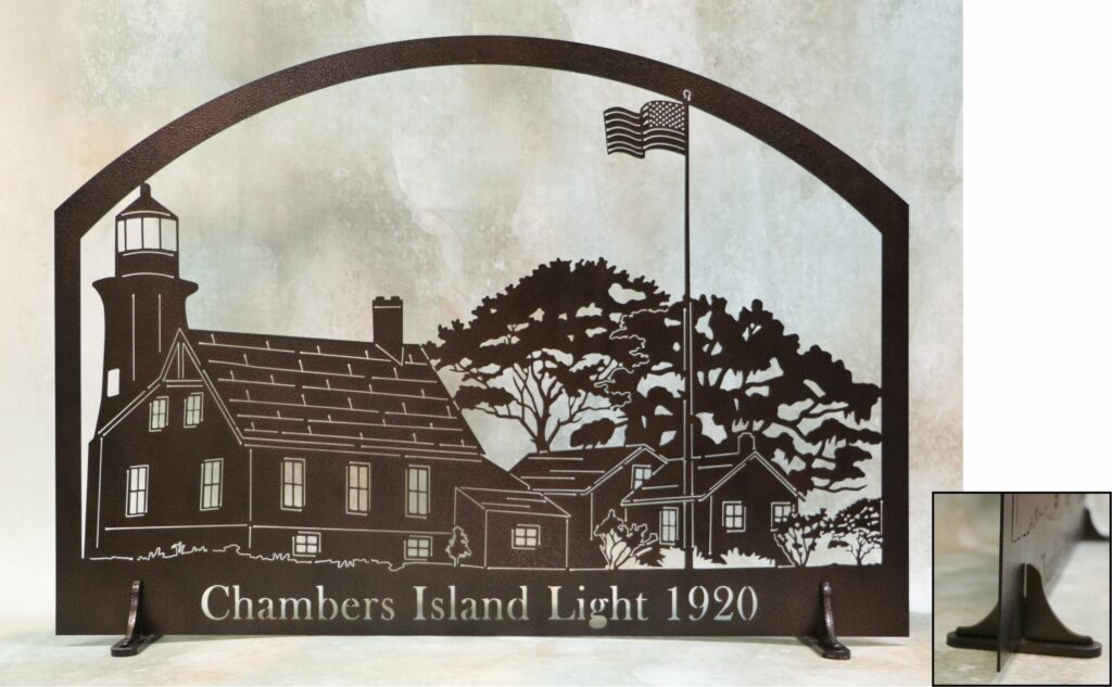 Freestanding Metal Art, USA Flag, Lighthouse, Home, Barn, Homestead, Flagpole, Trees, Bushes, Chambers Island Light 1920