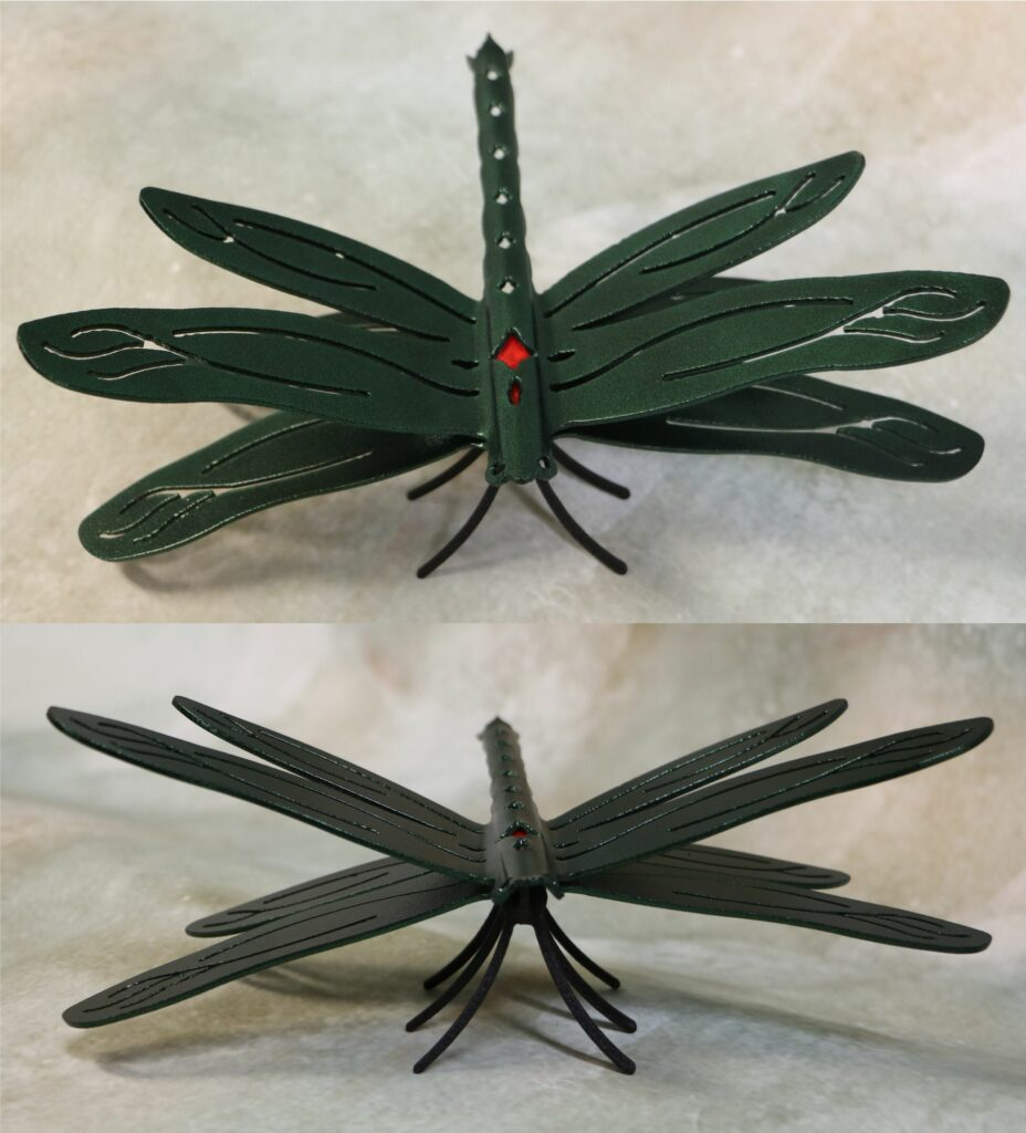 Freestanding Metal Art, Dragonfly, Wings, Tail, Six Legs, Eyes