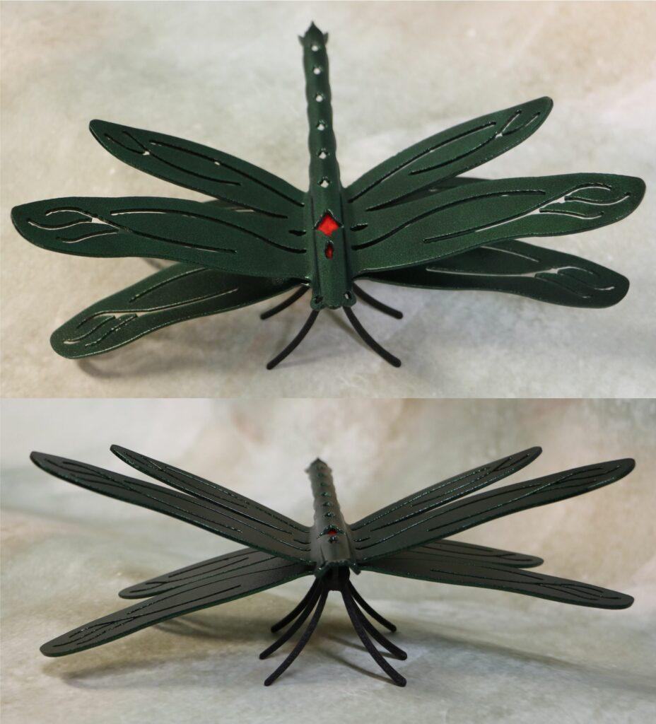 Freestanding Metal Art, Dragonfly, Wings, Tail, Six Legs, Eyes