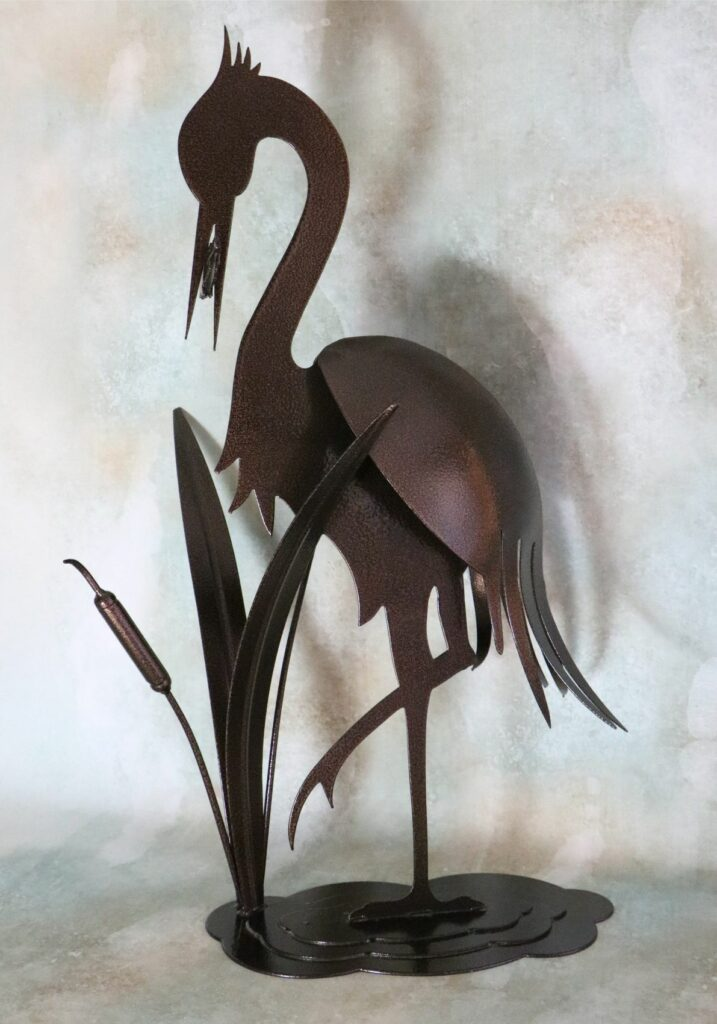 Freestanding Metal Art, Heron, Water Bird, Cattails, Leaves, Fish, Feathers, Legs, Water