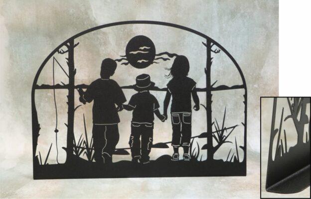 Freestanding Metal Art, Boys, Girls, Sunshine, Fishing Pole, Hat, Clouds, Reeds, Trees, Bobber, Water, Lake, Pond, Walking