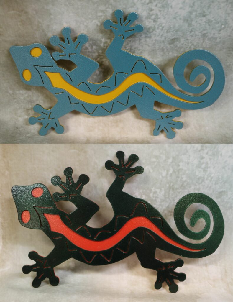 Freestanding Metal Art, Lizard, Curly Tail, Feet, Head, Eyes